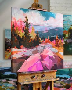 Using bold colors to paint her local landscape, Jess Franks' vibrant art is immediately recognizable. By day, Franks works as a magazine graphic designer Chinese Landscape Painting, Watercolor Landscape Paintings, Landscape Art, Watercolor Artists, Abstract Paintings, Oil Paintings, Watercolor Painting, Creative Landscape, Vintage Landscape