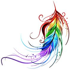 Rainbow Feather Temporary Tattoo #656