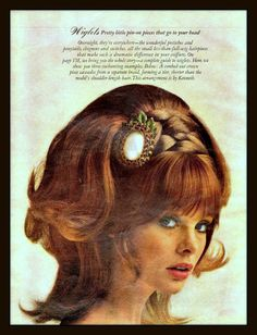 Miss Jean Shrimpton coiffure by Mr Kenneth of NYC for a 1968 advertisement of wig-lets available.