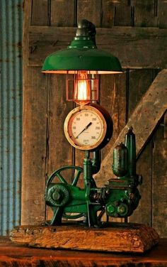 about Steampunk Lamp Industrial Machine Age Steam Gauge light Regulator Brass Steampunk Lamp Industrial Machine Age Steam Gauge Light Train Nautical Loft Gear Lampe Steampunk, Steampunk Bedroom, Steampunk Furniture, Industrial Furniture, Industrial Interiors, Pipe Lighting, Industrial Lighting, Cool Lighting, Industrial Bathroom