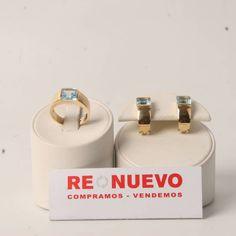 Conjunto de anillo y pendientes de oro y topacios azules E276561A   Tienda online de segunda mano en Barcelona Re-Nuevo