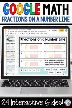 fractions on a number line 3rd Grade Fractions, Math Fractions, 4th Grade Math, Math Math, Math Games, Third Grade, Maths, School Resources, Math Resources