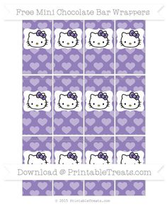 Free Pastel Dark Plum Heart Pattern Hello Kitty Mini Chocolate Bar Wrappers