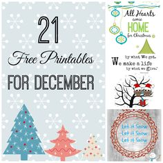 21 free printables for December. Great last minute Free gift idea, just print and frame. Cute up the frame with some #dollartree ornaments and you have a one of a kind gift.