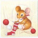 Decoupage Paper Art Napkin | Christmas Mice 1
