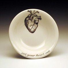 set of 4 anatomical heart DIPPING Bowls & Skeletal BONE APPETIT 9 inch dinner plates Skull Rib Cage Pelvis ...