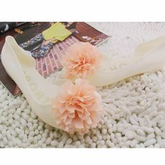 Jelly Ivory Champagne Rosette Flat Bridal Wedding Party Shoes Sandals SKU-1091032