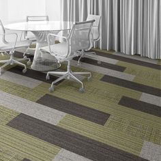 Interface Floor Design     | WW895: Glen Weave,  WW880: Brown Loom,  WW870: Linen Weft, WW865: Glen Warp |     Find inspiration for your next interior design project with floors composed of modular carpet tiles from Interface
