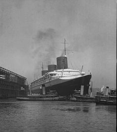French Line NORMANDIE arrives at New York, post-1935.