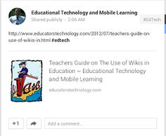 Educational Technology and Mobile Learning: What Teachers Need to Know about Using Hashtags in Google Plus