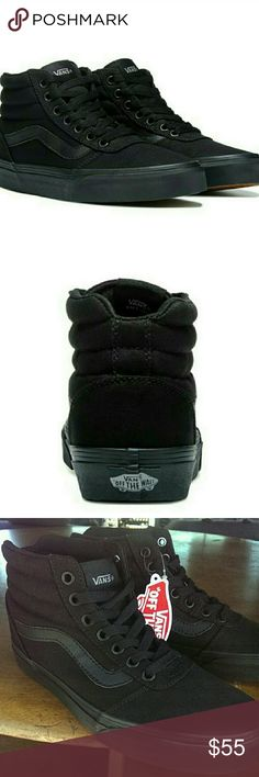 Black Hi top Vans All Black on black high top skate vans! Size 7. Brand new, never worn! Perfect condition and super comfortable. Every day stylish shoes! Vans Shoes