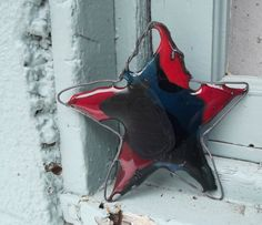 Recycled Glass Christmas Star Ornament by PiecesofhomeMosaics, $25.00
