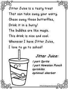 """Jitter Juice is an awesome first day activity. Read the book """"First Day Jitters"""" and make Jitter Juice for all your kiddos to make Day 1 jitter-free!"""
