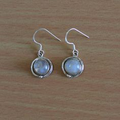 30% discount for purchase > $20 coupon code --DEVCC12 Classic Design Earring of Rainbow Moonstone in by DevmuktiJewels