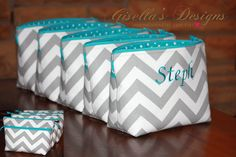Set of 5 Extra Large Cosmetic Bag, Great for Wedding day survival kit, Teal and grey Bridal Shower Gift, travel organization, Birthday Gift. Click here to custom design your own, many fabrics to choose from.