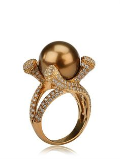 Rose Gold Diamonds Tahiti Pearl Ring by Massai Firenze