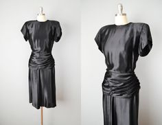 Vintage 40s Dress // 1940s Black Liquid Silk Satin Cocktail Dress // Small-Medium