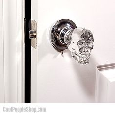 $112.92 Skull Doorknob | Cool People Shop These spooky LED crystal skull doorknobs will have people thinking twice before they turn the handle and open the door.  Outfit every door in the home with a set of these creepy crystal craniums and fill your home with a foreboding sense of death and fear. Guests will be secretly wondering what kind of black magic you perform and if the skulls are actually from the shrunken heads of your previous guests #skull #doorknob #doorknobs #cool #doorhandle…