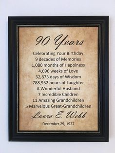 90th Birthday Gift Personalized Print Frame Included For Mom Dad Party Decor 1928