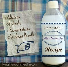 Homemade Mouthwash Recipe - Whitens and Remineralizes Teeth - http://www.livingthenourishedlife.com/2013/09/homemade-mouthwash-recipe-for-whitening-and-remineralizing #homemade #diy #mouthwash #whitening #remineralize #teeth