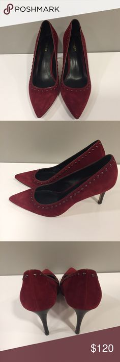 These Lightly worn Coach suede studded heels are perfect for work or a weekend outing of your choice. Beautiful Cranberry color is perfect for Fall. Get the Look Coach Shoes Heels Plus Fashion, Womens Fashion, Fashion Tips, Fashion Design, Fashion Trends, Cranberry Color, Studded Heels, Coach Shoes, Red Purple
