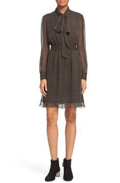 Diane von Furstenberg Diane von Furstenberg 'Arabella' Pinstripe Silk Dress