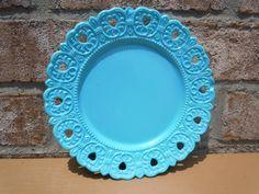 antique milk glass plate aqua round vintage home decor retro kitsch mod bright housewares upcycled