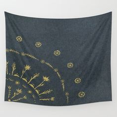 Black Gold Floral Wall Tapestry black gold tapestry by lake1221