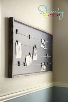 BOARDS :: Pottery Barn Inspired Memo Board Tutorial by Shanty 2 Chic :: Materials: 4 for the frame (two 45 pcs and two pcs), a pc of MDF or plywood, twine & clothespins, stain, chalkboard or black paint & a staple gun. Memo Boards, Chalk Board, Pin Boards, Wire Memo Board, Picture Boards, Picture Ideas, Pottery Barn Inspired, Pottery Barn Teen, Cadre Photo Original
