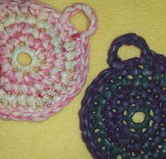 Pink and Purple Plarn Dish Scrubbies by plarnstar on Etsy