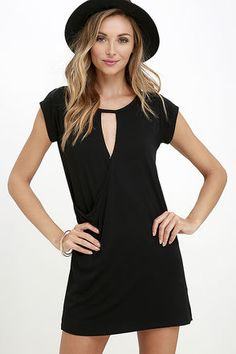 LuLu*s Exclusive! The Fluidity Black Wrap Dress is free to take on whatever look suits your mood! Jersey knit fabric starts at short sleeves and rounded neckline, all atop a sloping cutout and wrapping front (with modesty snap). Straight-cut silhouette drapes effortlessly for a cool and casual look.
