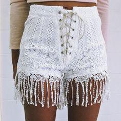 Flowy Lace Shorts - white shorts
