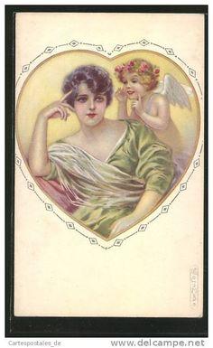 Artiste-CPA E.Colombo: Portrait einer jungen Frau in grünem Kleid mit Engel