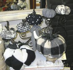 here is another set of pumpkins from old sweaters, fabrics, etc.  I love the black/white theme.