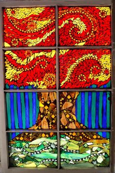Large Stained Glass Mosaic Tree Window by mandolin2 on Etsy