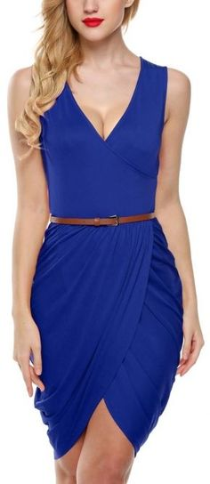 On-the-Go Belted Bodycon Dress - Blue