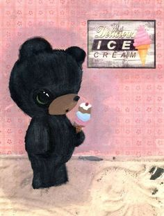 beary yummy ice cream print,  the poppy tree