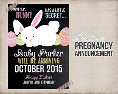 Easter Pregnancy Announcement - Printable Card Sign - Bunny Easter Pregnancy Announcement - Digital - FREE Personalization by StudioTwentyNine on Etsy https://www.etsy.com/listing/223237754/easter-pregnancy-announcement-printable