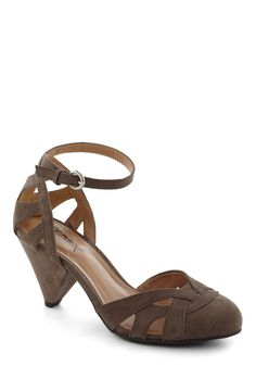Cinnamon Scones Heel in Stone Platter - Grey, Solid, Cutout, Work, Casual, Vintage Inspired, Cocktail, Mid, Strappy, Variation, gray shoes should be great for wedding