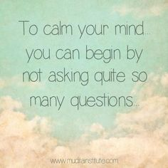 Sometimes the best thing we can do to calm the agitation in our minds is to stop asking so many questions. To an already agitated mind, even good answers don't necessarily give any satisfaction or peace. Favorite Quotes, Best Quotes, Mindfulness Training, Self Compassion, Note To Self, Love Words, Inner Peace, Good Advice, Daily Quotes
