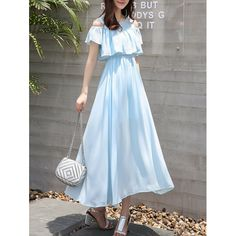 Flowing Cold Shoulder Flouncing Chiffon Dress | TwinkleDeals.com