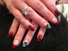 Red, black and white freehand valentines love heart nail art over acrylic nails...awesome