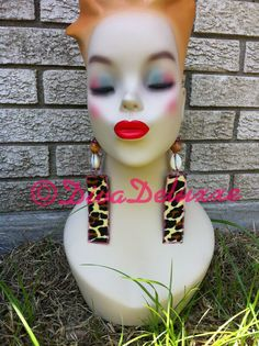 Leopard rectangle dangles Cowrie Shell Statement by DivaDeluxxe, $18.50