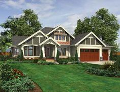 Dramatic Craftsman with Front Porch and Outdoor Living (HWBDO69584) | Ranch House Plan from BuilderHousePlans.com
