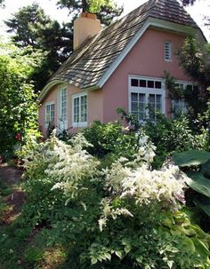 Charming pink English cottage and garden