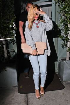 Skinny jeans, nude and gold heels, baggy oversized grey jumper, statement necklace and oversized nude clutch bag