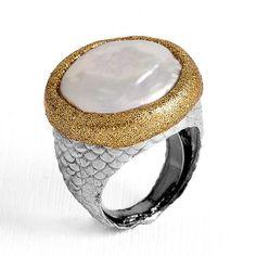 #Anillo de #plata con #perla cultivada plana
