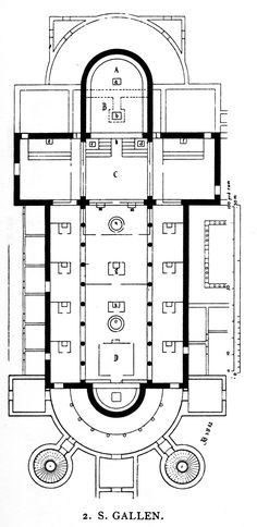 A copy by Georges Dehio of the church from the Plan of Saint Gall, shows an apse at both ends and paired towers of square and round section. The bi-apsidal plan is most typically found in Germany, as at Worms Cathedral. Romanesque Architecture, Roman Architecture, Round Arch, 11th Century, Art History, Cathedral, Medieval, Floor Plans