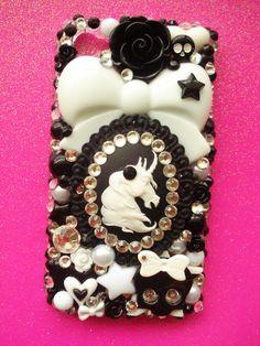 Gothic Lolita Unicorn Decoden iPhone 4 Case by LUXYLOLI on Etsy, $79.00