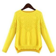 Plus Size Yellow Knit Pullover Sweater